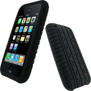 iGadgitz Black Silicone Skin Case Cover with Tyre Tread Design for Apple iPhone 3G &amp; New 3GS 8GB, 16GB &amp; 32GB + Screen Protector Preview